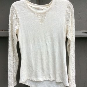 Prana XS off white long lace sleeve top
